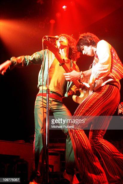 Singer Mick Jagger and guitarist Keith Richards of the Rolling Stones performing on stage in the USA during their 'Tour of the Americas' in 1975