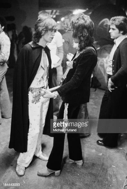 Singer Mick Jagger and guitarist Keith Richards of the Rolling Stones backstage at the Sportpaleis AHOY Rotterdam Netherlands 13th14th October 1973...