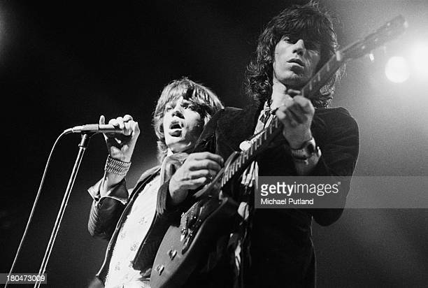 Singer Mick Jagger and guitarist Keith Richards performing with the Rolling Stones at the Empire Pool, Wembley, London, 9th September 1973.