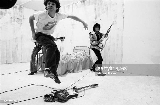 Singer Mick Jagger and guitarist Ronnie Wood during the production of the music video for 'Respectable' in New York, 1978.