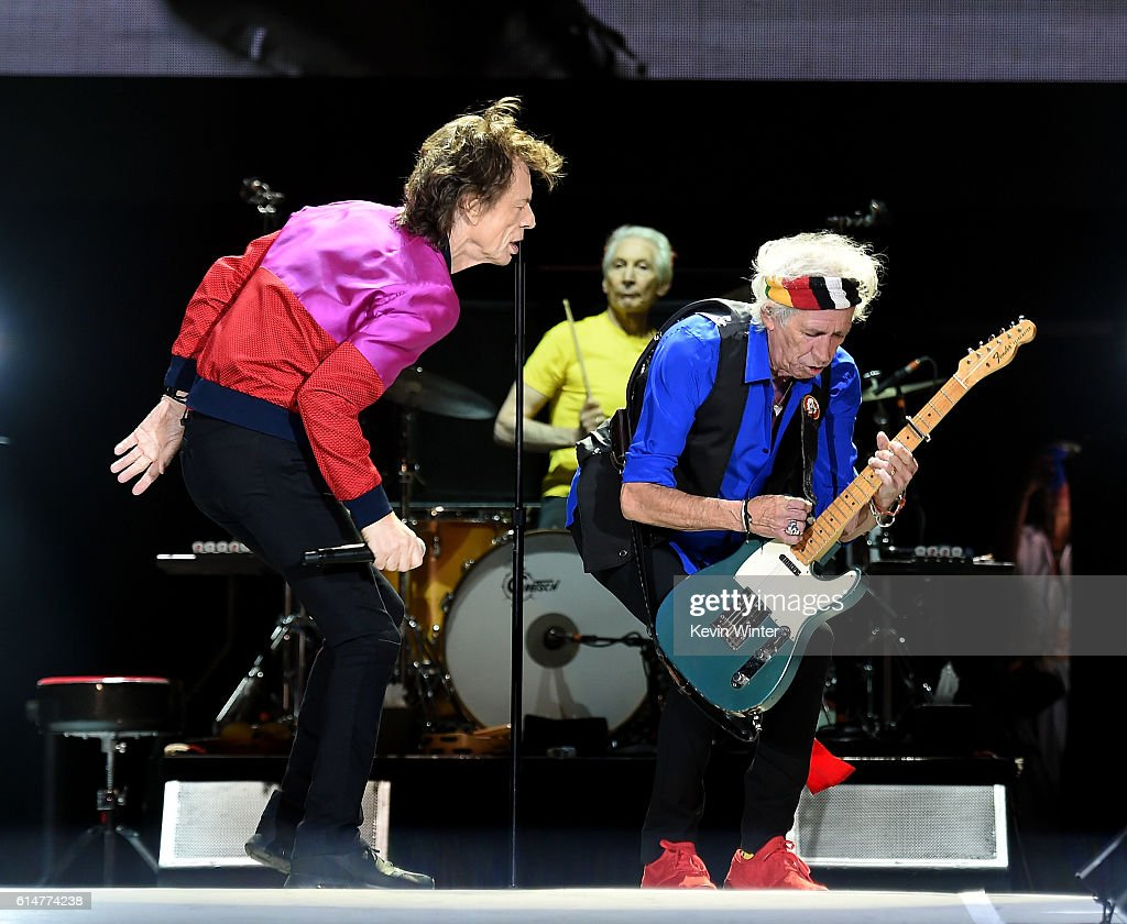 Singer Mick Jagger and musician Keith Richards perform during Desert Trip at the Empire Polo Field on October 14, 2016 in Indio, California.
