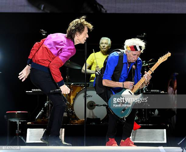 Singer Mick Jagger and musician Keith Richards perform during Desert Trip at the Empire Polo Field on October 14 2016 in Indio California