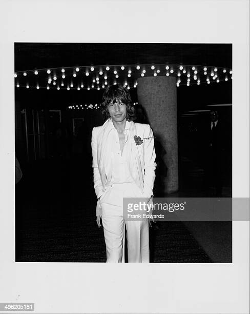 Singer Mick Jagger arriving at the American Film Institute's tribute to James Cagney at the Century Plaza Hotel Holllywood March 13th 1974