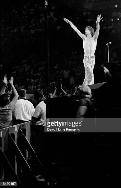 Singer Mick Jagger frontman for the Rolling Stones performs on stage during a concert at the Capitol Center July 1975 in Landover Maryland