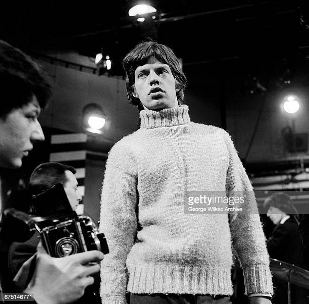 Singer Mick Jagger of The Rolling Stones during rehearsals for an episode of the Friday night TV pop/rock show 'Ready Steady Go' at...