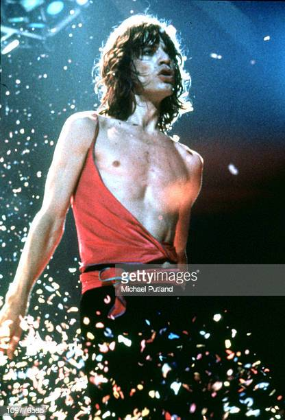 Singer Mick Jagger of the Rolling Stones performing on stage during their European tour in 1976
