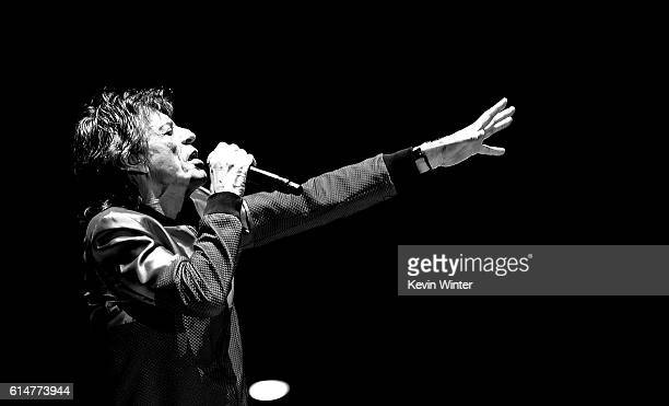 Singer Mick Jagger of The Rolling Stones performs during Desert Trip at the Empire Polo Field on October 14 2016 in Indio California