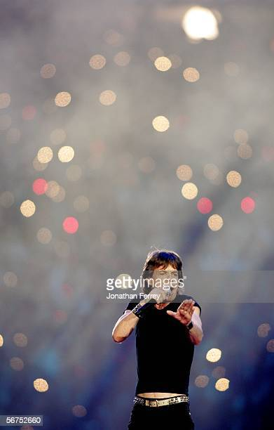 Singer Mick Jagger of The Rolling Stones performs during the Sprint Super Bowl XL Halftime Show at Super Bowl XL between the Seattle Seahawks and the...