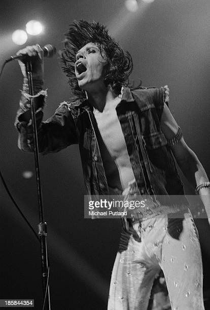 Singer Mick Jagger performing with the Rolling Stones at the Deutschlandhalle, Berlin, 19th October 1973.
