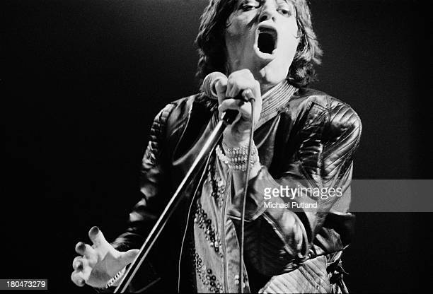 Singer Mick Jagger performing with the Rolling Stones at the Empire Pool Wembley London 9th September 1973