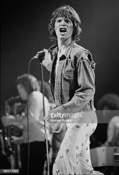 Singer Mick Jagger performing with the Rolling Stones at Wembley Empire Pool London 8th September 1973