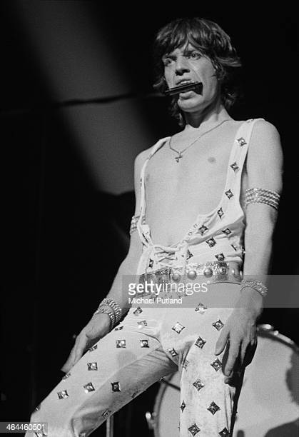 Singer Mick Jagger playing a harmonica on the first night of the Rolling Stones' 1973 European World Tour Stadthalle Vienna Austria 1st September 1973
