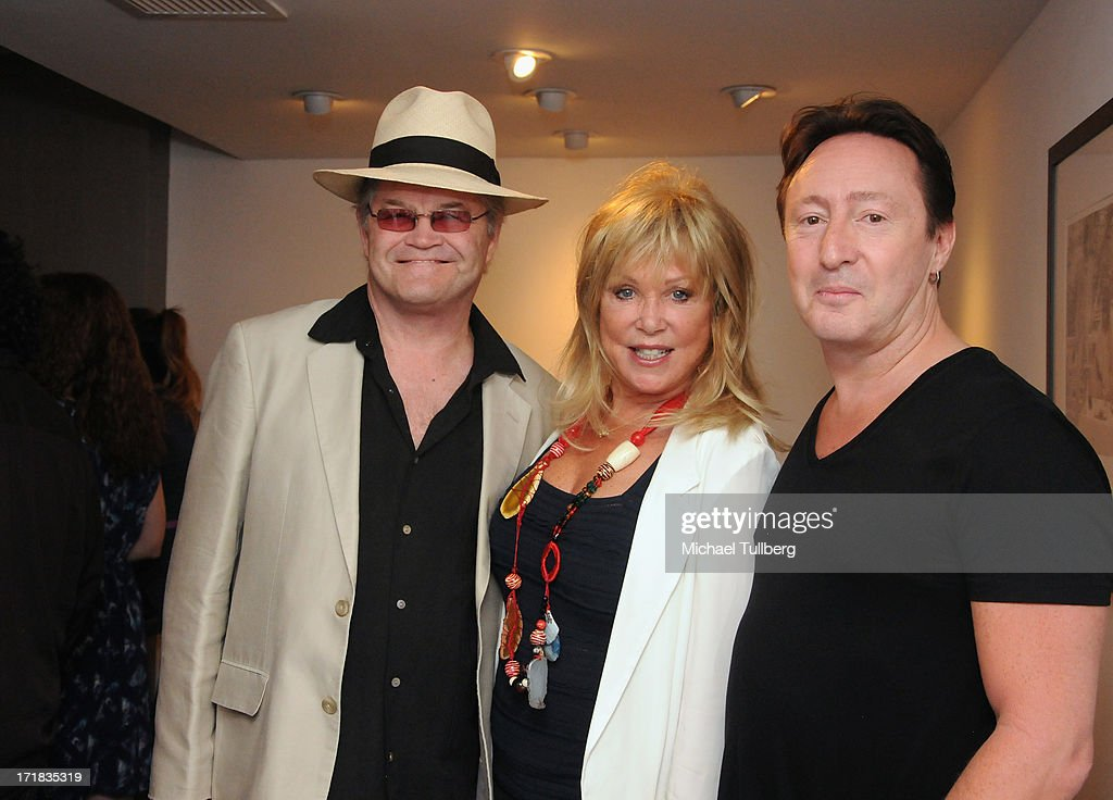 Singer Mickey Dolenz, photographer Pattie Boyd and singer Julian Lennon attend an exhibition of Boyd's photographs entitled 'Pattie Boyd: Newly Discovered' at Morrison Hotel Gallery on June 28, 2013 in West Hollywood, California.