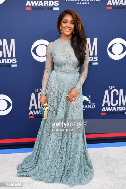 US singer Mickey Guyton arrives for the 54th Academy of Country Music Awards on April 7 at the MGM Grand Garden Arena in Las Vegas Nevada