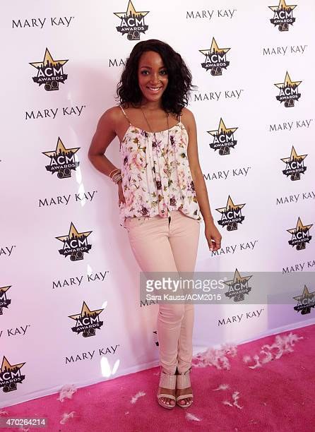 Singer Mickey Guyton attends a signing at the Mary Kay booth during the ACM Party For A Cause Festival at Globe Life Park in Arlington on April 18...
