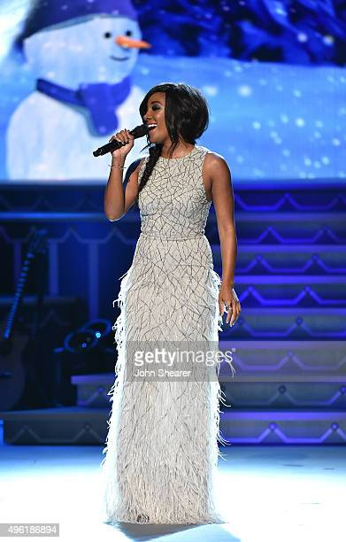 Singer Mickey Guyton performs during the CMA 2015 Country Christmas on November 7 2015 in Nashville Tennessee