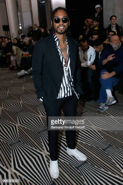 Singer Miguel aka Miguel Jontel Pimentel attends the Haider Ackermann Menswear Fall/Winter 20182019 show as part of Paris Fashion Week on January 17...