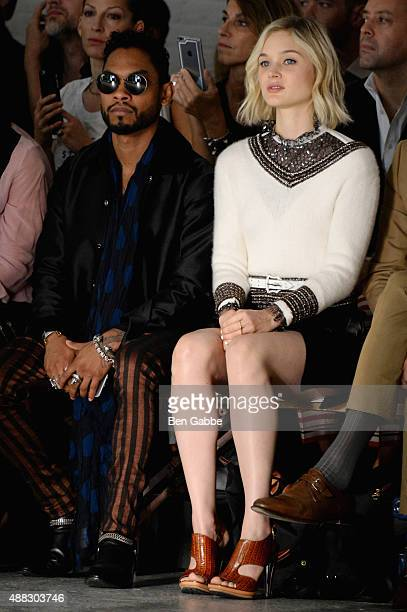 Singer Miguel and actress Bella Heathcote attend Rodarte Spring 2016 during New York Fashion Week at Center 548 on September 15 2015 in New York City