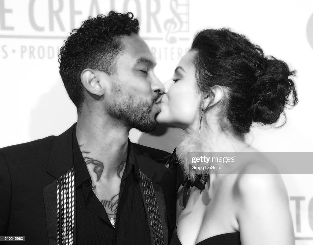 Singer Miguel and Nazanin Mandi arrive at The Creators Party Presented by Spotify, Cicada, Los Angeles at Cicada on February 13, 2016 in Los Angeles, California.
