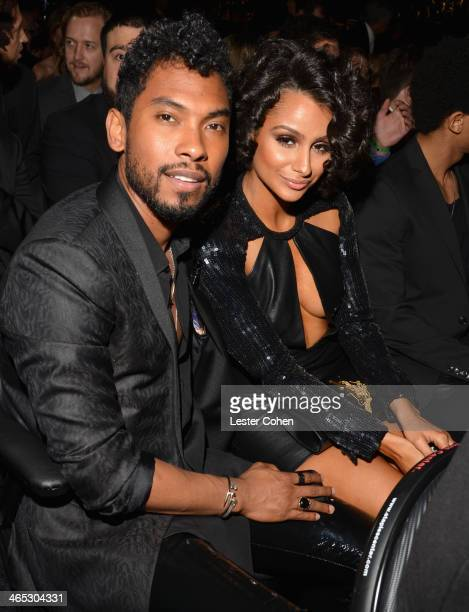 Singer Miguel and Nazanin Mandi attend the 56th GRAMMY Awards at Staples Center on January 26 2014 in Los Angeles California