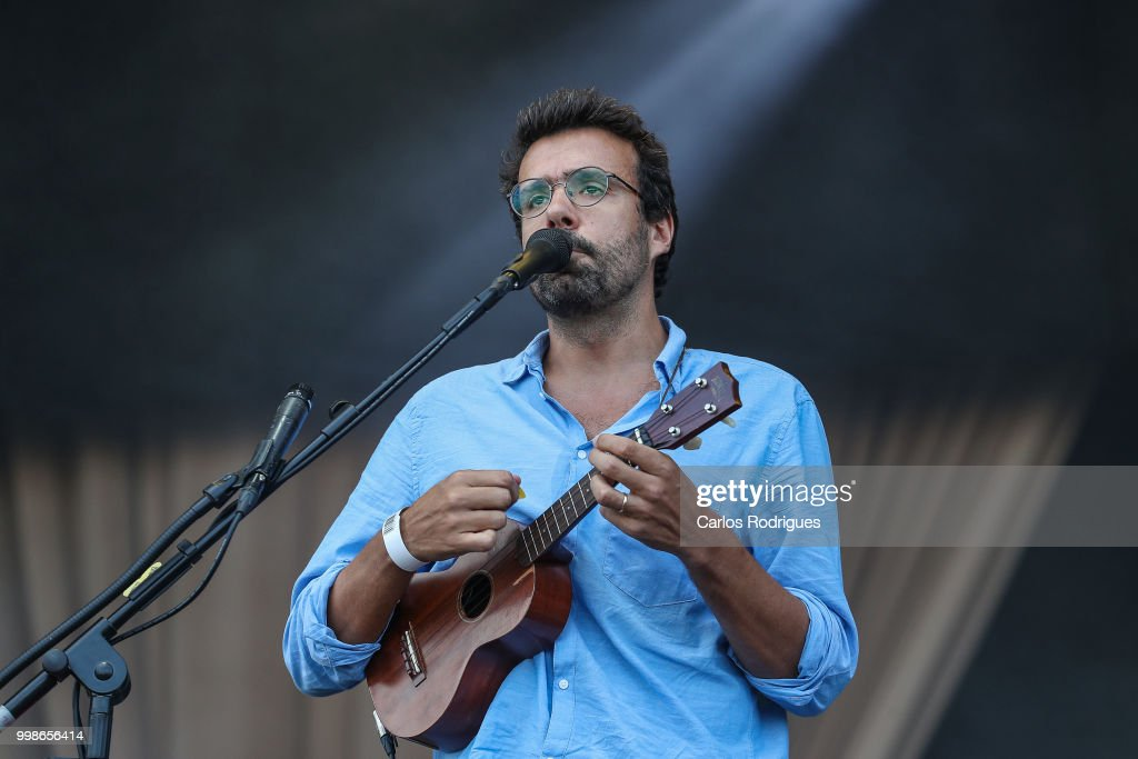 Singer Miguel Araujo performs during Day 1 of NOS Alive Festival 2018 on July 12, 2018 in Lisbon, Portugal.