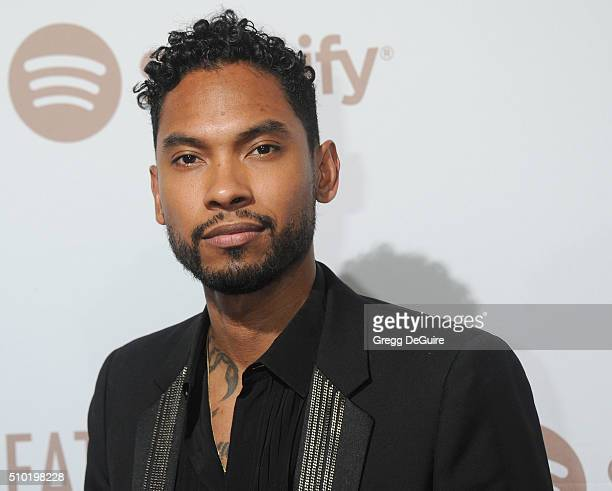 Singer Miguel arrives at The Creators Party Presented by Spotify Cicada Los Angeles at Cicada on February 13 2016 in Los Angeles California