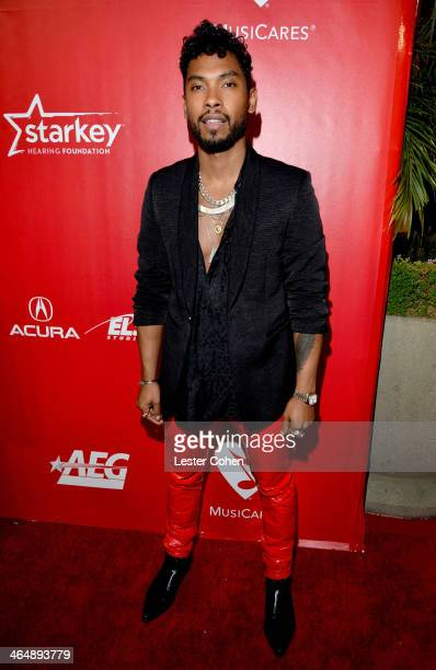 Singer Miguel attends 2014 MusiCares Person Of The Year Honoring Carole King at Los Angeles Convention Center on January 24 2014 in Los Angeles...