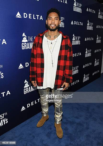 Singer Miguel attends a celebration of the 57th annual GRAMMY Awards hosted by Delta Air Lines the official airline of the GRAMMY Awards with a...