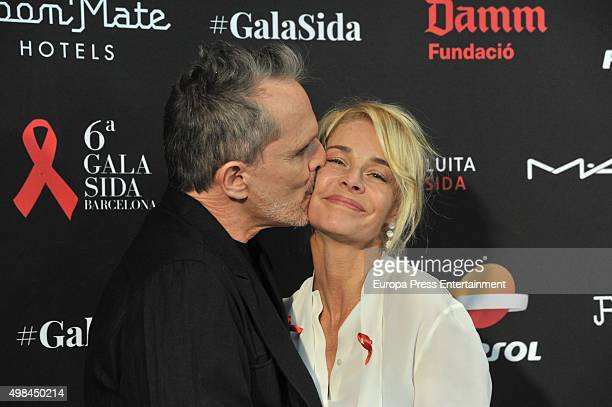 Singer Miguel Bose and actress Belen Rueda attend the press conference of 'Gala Against Aids' on November 23 2015 in Barcelona Spain