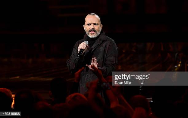Singer Miguel Bose performs onstage during the 15th Annual Latin GRAMMY Awards at the MGM Grand Garden Arena on November 20 2014 in Las Vegas Nevada