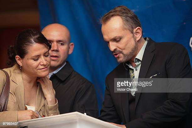 Singer Miguel Bose signs copies of his new album 'Cardio' at MixUp Plaza Loreto on March 23 2010 in Mexico City Mexico
