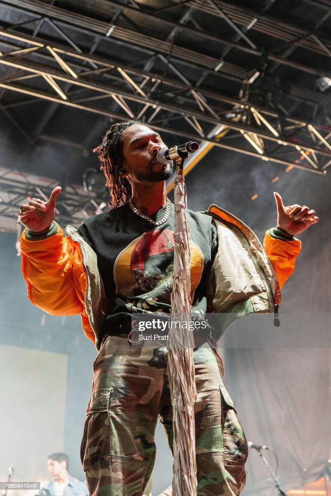Singer Miguel performs at the Upstream Music Festival in Pioneer Square on June 1, 2018 in Seattle, Washington.