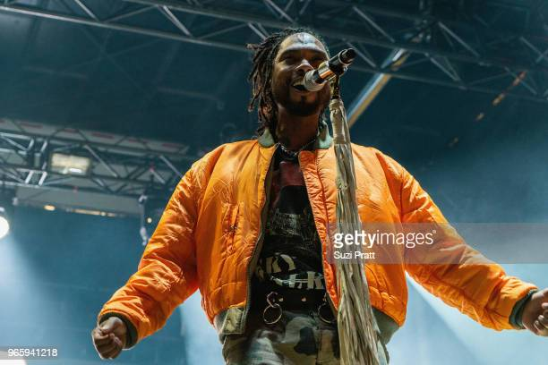 Singer Miguel performs at the Upstream Music Festival in Pioneer Square on June 1 2018 in Seattle Washington