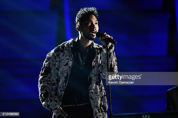 Singer Miguel performs onstage during The 58th GRAMMY Awards at Staples Center on February 15 2016 in Los Angeles California