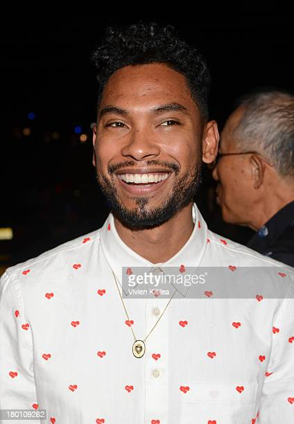 Singer Miguel Pimentel attend the Opening Ceremony fashion show during MercedesBenz Fashion Week Spring 2014 at SuperPier 25 on September 8 2013 in...