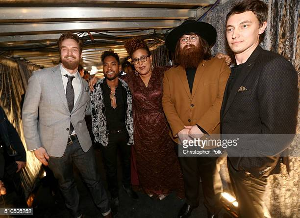 Singer Miguel poses with musicians Steve Johnson Brittany Howard Zac Cockrell and Heath Fogg of Alabama Shakes attend The 58th GRAMMY Awards at...