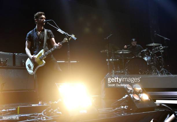 Singer Mike Kerr and drummer Ben Thatcher of the band Royal Blood perform onstage during KROQ Almost Acoustic Christmas 2017 at The Forum on December...