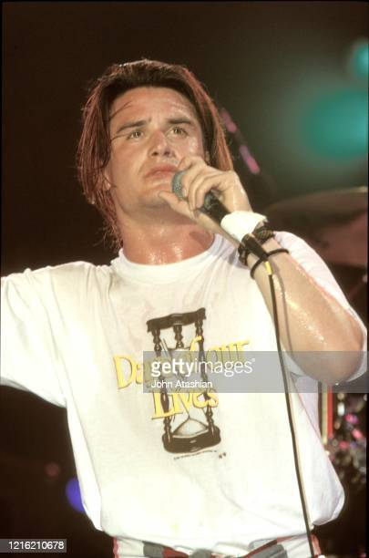 Singer Mike Patton is shown performing on stage at Rock in Rio II with Faith No More on January 20, 1991.