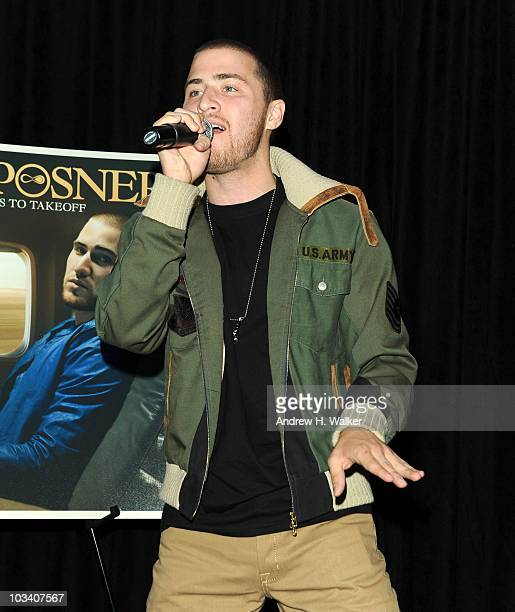 Singer Mike Posner performs at the launch of Sony Ericsson's Xperia X10 smartphone at the ATT Flagship Store on August 16 2010 in New York City