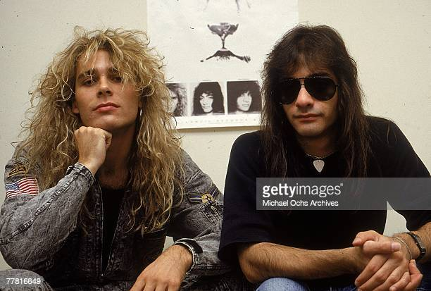Singer Mike Tramp and guitarist Vito Bratta of the hardrock group White Lion pose for a portrait in 1988 in New York City New York Mike Tramp Vito...