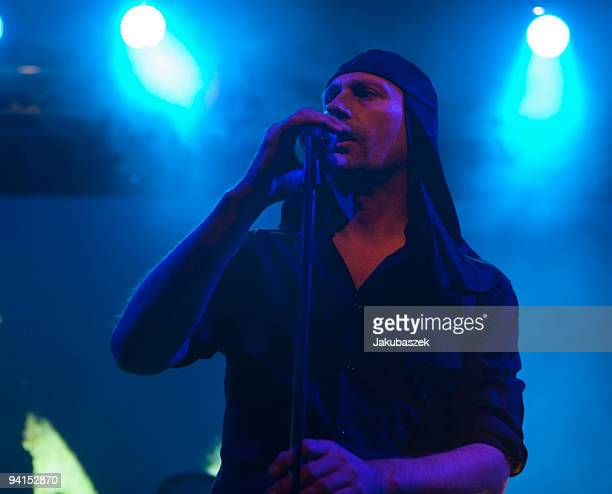 Singer Milan Fras of the Slovenian EBM industrial band Laibach performs live during a concert at the Postbahnhof on December 8 2009 in Berlin Germany...