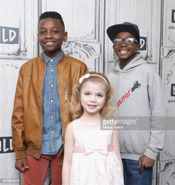Singer Miles Caton author Ariana Jalia and guitar bass player Lil Asmar attend BUILD to discuss the television show 'Little Big Shots' at Build...