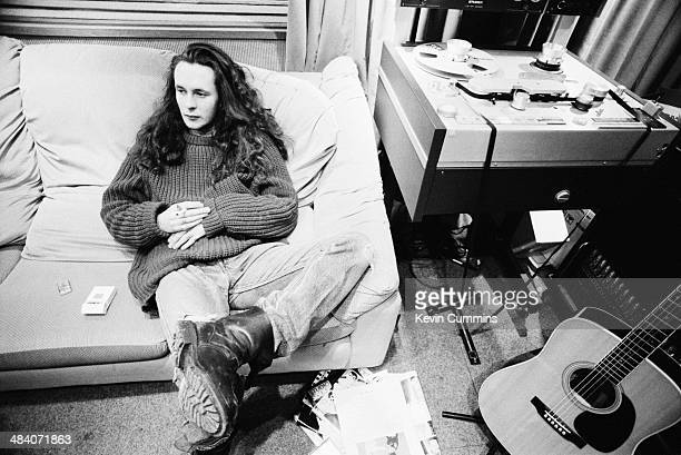 Singer Miles Hunt, of English pop group The Wonder Stuff, at Rockfield Studios, near Monmouth in Wales, December 1989. The group are recording demos...