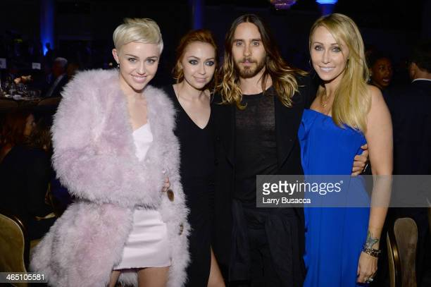 Singer Miley Cyrus actress Brandi Cyrus actor Jared Leto and Tish Cyrus attend the 56th annual GRAMMY Awards PreGRAMMY Gala and Salute to Industry...