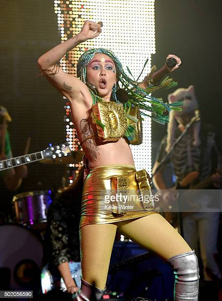 Singer Miley Cyrus and her Dead Petz perform at the Wiltern Theatre on December 19 2015 in Los Angeles California