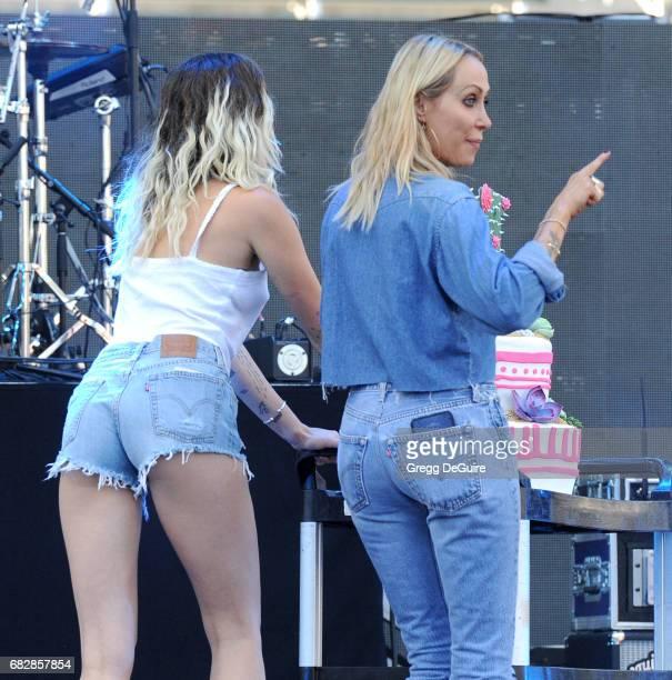 Singer Miley Cyrus and mom Tish Cyrus at 102.7 KIIS FM's 2017 Wango Tango at StubHub Center on May 13, 2017 in Carson, California.