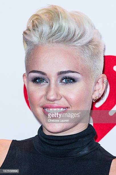 Singer Miley Cyrus arrives at iHeartRadio Music Festival press room at MGM Grand Garden Arena on September 21 2012 in Las Vegas Nevada