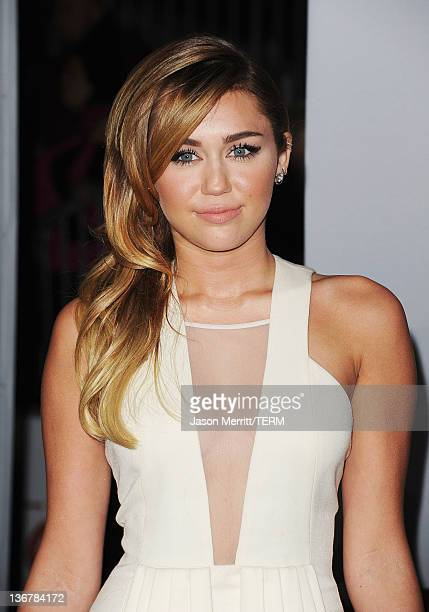 Singer Miley Cyrus arrives at the 2012 People's Choice Awards held at Nokia Theatre LA Live on January 11 2012 in Los Angeles California