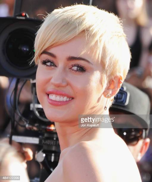 Singer Miley Cyrus arrives at the 2014 MTV Video Music Awards at The Forum on August 24 2014 in Inglewood California