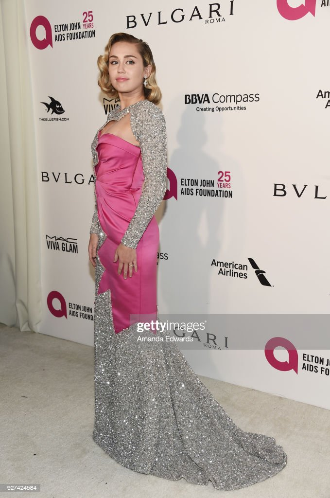 Singer Miley Cyrus arrives at the 26th Annual Elton John AIDS Foundation's Academy Awards Viewing Party on March 4, 2018 in West Hollywood, California.